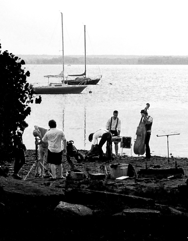 musicians setting up for photo shoot